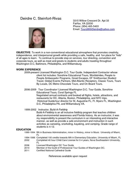 tour guide resume cover letter printable exles resumes