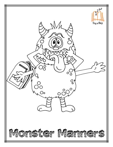 Monster Manners Coloring Pages! - Sing A Story
