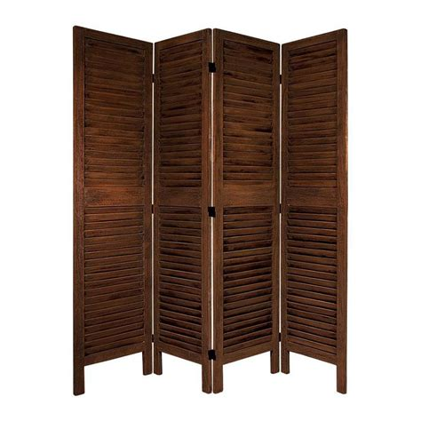 Shop Oriental Furniture Room Dividers 4 Panel Burnt Brown Room Divider