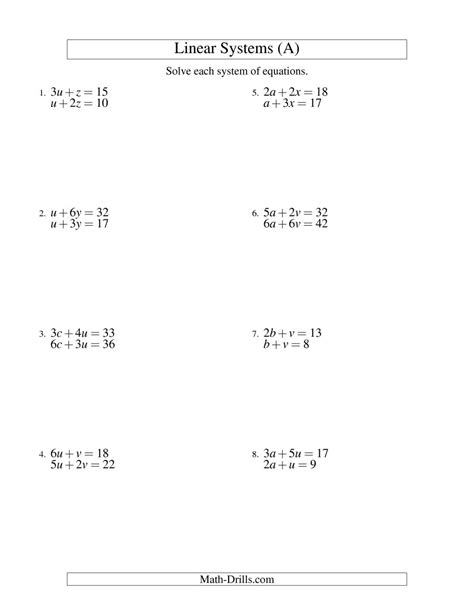 System Of Equations Worksheets by Systems Of Linear Equations Two Variables A