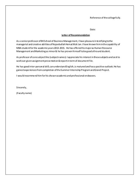 Format Of Reference Letter For The Recommendation Letter Format