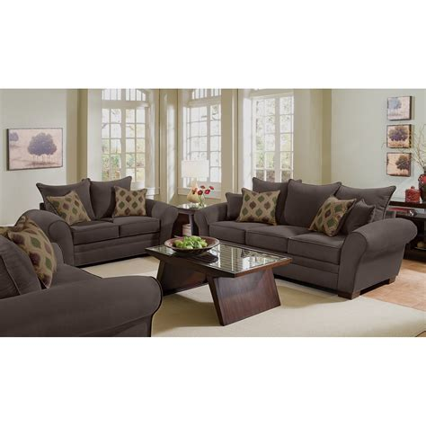 value city furniture living room sets rendezvous sofa and loveseat set chocolate american