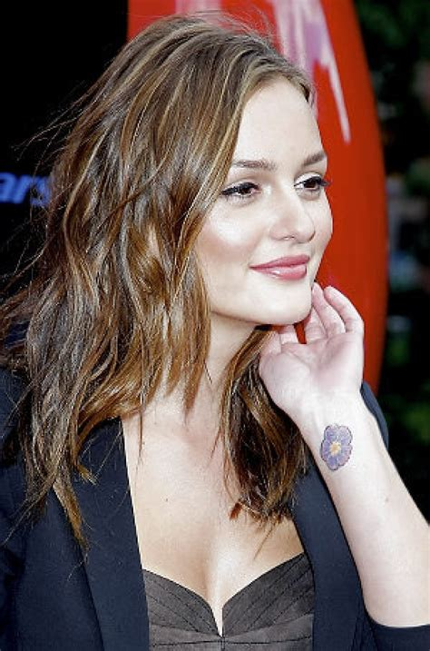 celebs with tattoos leighton meester cherry blossom on wrist