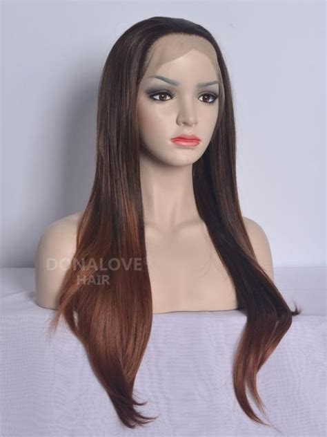 waist length ombre black ombre brown waist length straight synthetic lace wig