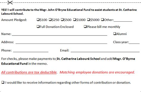Donor Credit Card Template by Catherine Labour 233 School Archdiocese Of Los Angeles