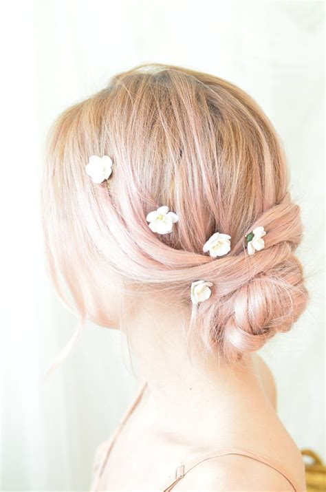 Wedding Hair Flowers Small by White Flower Wedding Hair Pins Small Floral Bobby