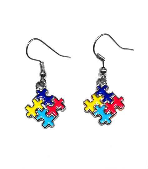 4 color puzzle autism earrings autism awareness shop