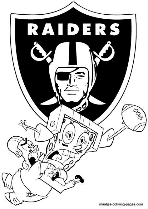 spongebob nfl coloring pages nfl oakland raiders spongebob coloring page