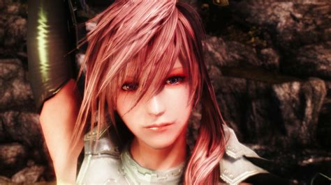beautiful hair skyrim final fantasy xiii s lightning reborn in a skyrim mod