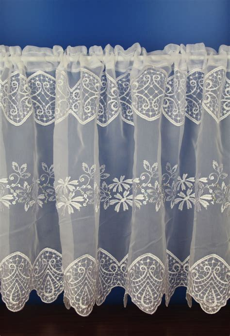 voile cafe net curtains emily white embroidered voile cafe net curtains woodyatt