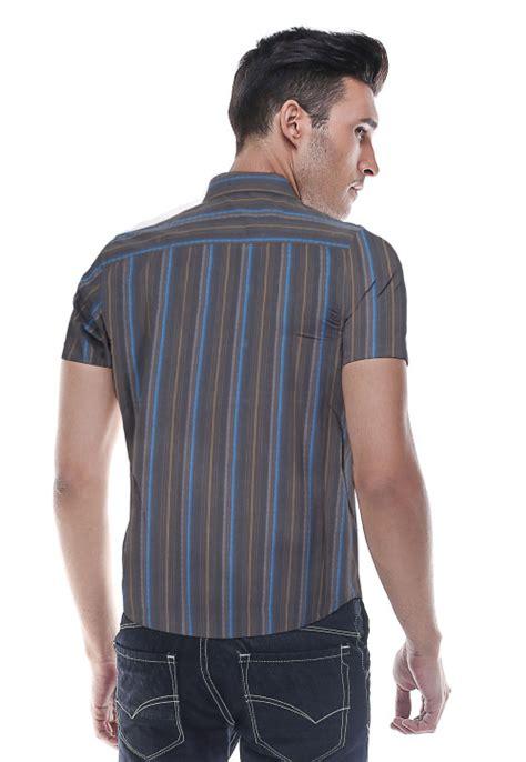 Kemeja Regular Fit Formal Pria Katun Biru Navy Lng 1755 slim fit kemeja formal hitam garis biru