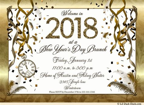 new year 2018 invitation golden new years invitations count clock