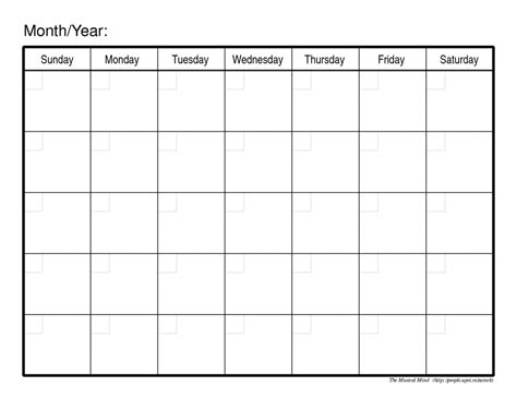 printable empty monthly calendar 2016 printable monthly calendar template search results