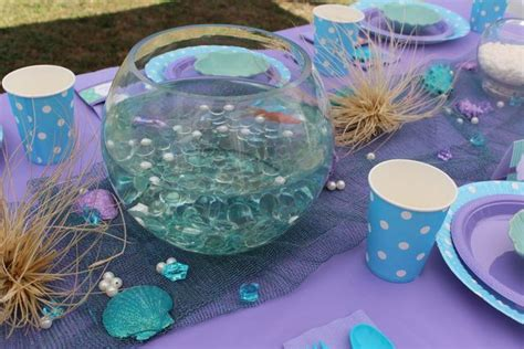 The Sea Table Decorations by Mermaids The Sea Birthday Ideas