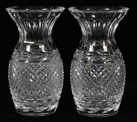Waterford Pineapple L by Antique Waterford Pineapple Cut Vases C1930