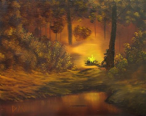 bob ross painting golden rays of bob ross cfire painting poster