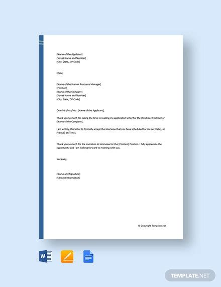 formal interview acceptance letter template word