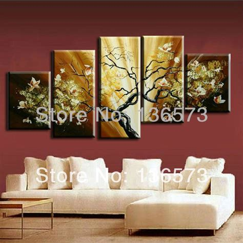 Decorative Paintings For Living Room by Painted Flowers Painting Canvas Modern Abstract Home