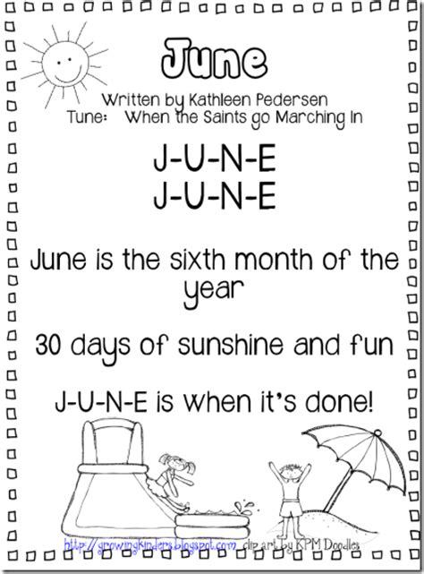 june activities yo ho let growing kinders june calendar song