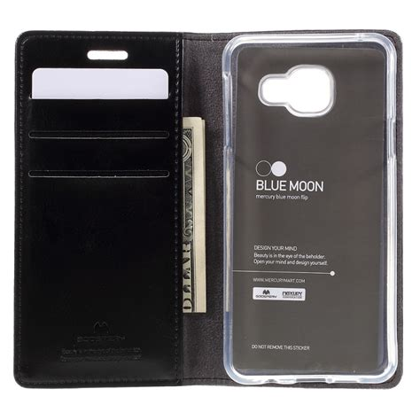 Sarung Mercury Kulit Samsung Galaxy Note 4 Blue Moon Flip Emas rumah bagus souvenir axis ki piye