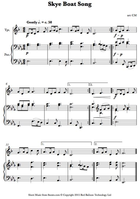 skye boat song score skye boat song sheet music for trumpet 8notes