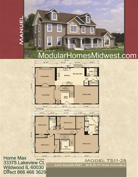 floor plans for a two story house modular homes illinois photos