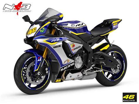 Yamaha R1 2015 Aufkleber race style yamaha r1 mit startnummer 46 blau gelb bj
