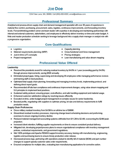 Supply Chain Management Resume by Professional Supply Chain Management Templates To Showcase