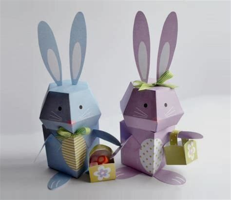 Easter Paper Crafts Free - 2 easter bunny papercrafts free templates