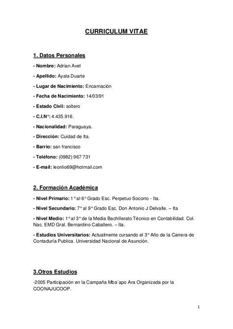 Modelo De Curriculum Vitae Paraguay Para Completar Curriculum Vitae