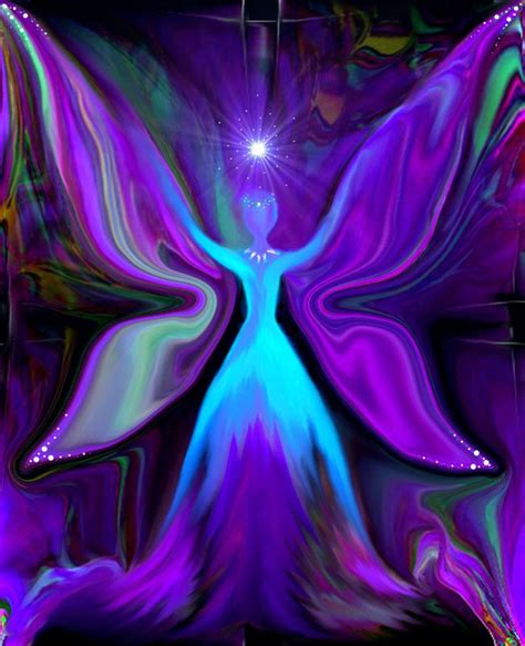 fairy art blue wall decor reiki angel energy art print