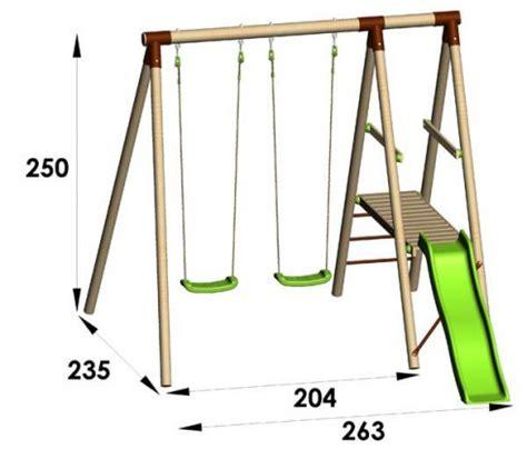 fabriquer portique balancoire station de jeux en bois trigano 2 50 m toboggan