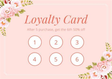 loyalty card design template pink floral watercolor illustration loyalty card