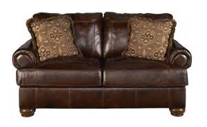 Leather Loveseat Sleeper Sofa Leather Sleeper Loveseat Brown Color With Pillow