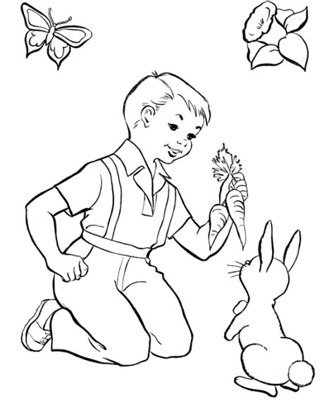 coloring page of a little boy and girl little boy feeding easter bunny coloring page boys