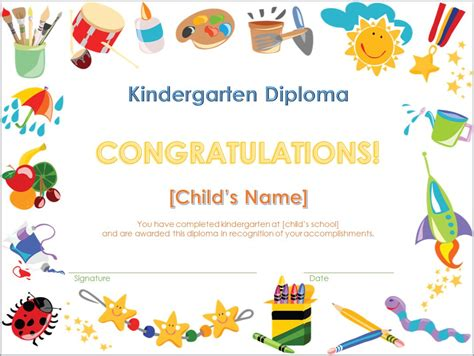 templates of certificates and diplomas screenshot of the kindergarten diploma template