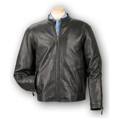 Cowhide Jackets by S Burk S Bay 174 Cowhide Casual Leather Jacket Black