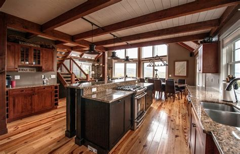 lodge kitchen moose ridge lodge post and beam rustic kitchen other