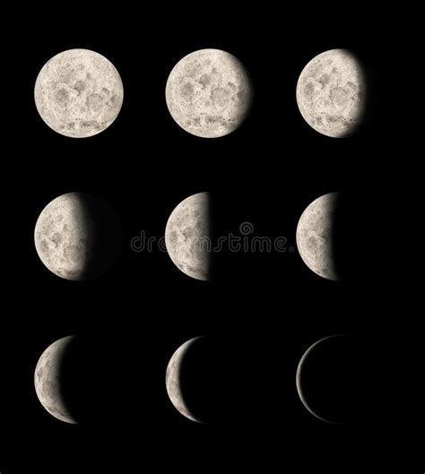 phases of the moon stock image image of space shadow