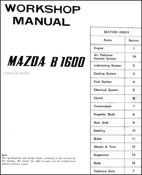 where to buy car manuals 1995 mazda b series engine control 1973 mazda b1600 repair shop manual original