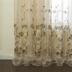 Embroidered Sheer Curtains Curtains Sheer Curtains One Panel Country Embroidered Beige Floral Pattern Polyester