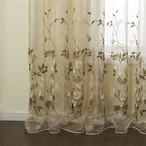 sheer floral curtains curtains sheer curtains one panel country