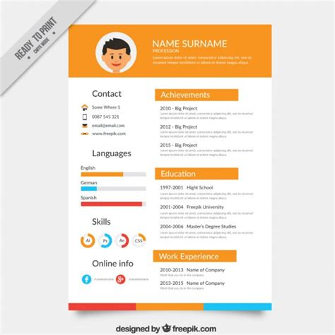 Resume Templates Vector Orange Resume Template Vector Free