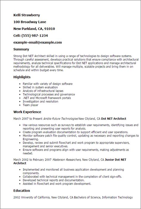 Sle Web Architect Resume Architect Resume Sles 28 Images Sle Architect Resume
