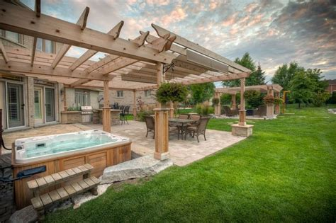 pergola tub outdoor backyard deck designs with tub ideas deck with pergola and tub ideas on