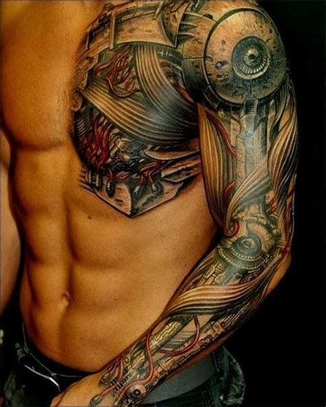 biomechanical tattoo robot half robot heart chest tattoo google search clothes
