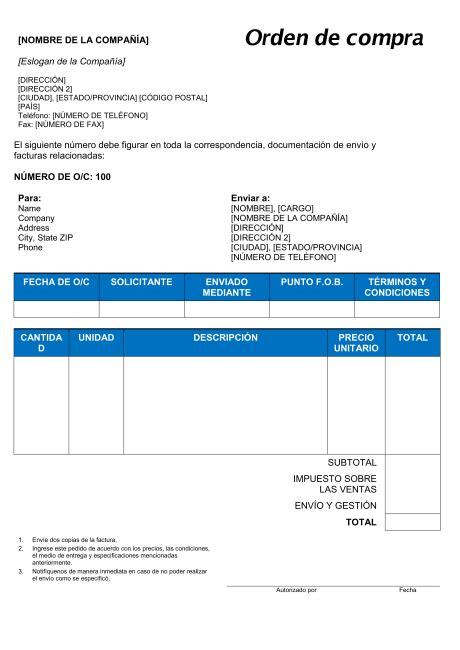 formulario orden de compra orden de compra modelos y ejemplo biztree com