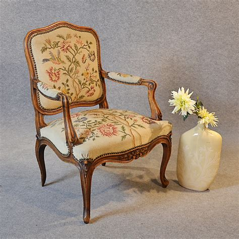 antique armchair walnut needlepoint tapestry salon reading