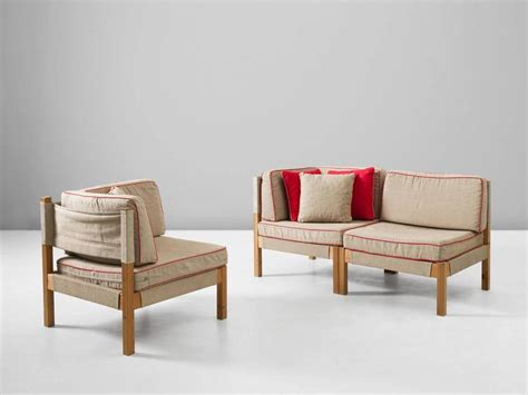 red modular sofa danish modular sofa in natural canvas and red accents for
