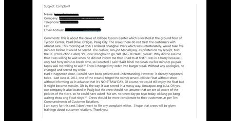 Complaint Letter Format Mcd Teacherandwriterwannabe Complaint Against A Certain Fast Food Restaurant